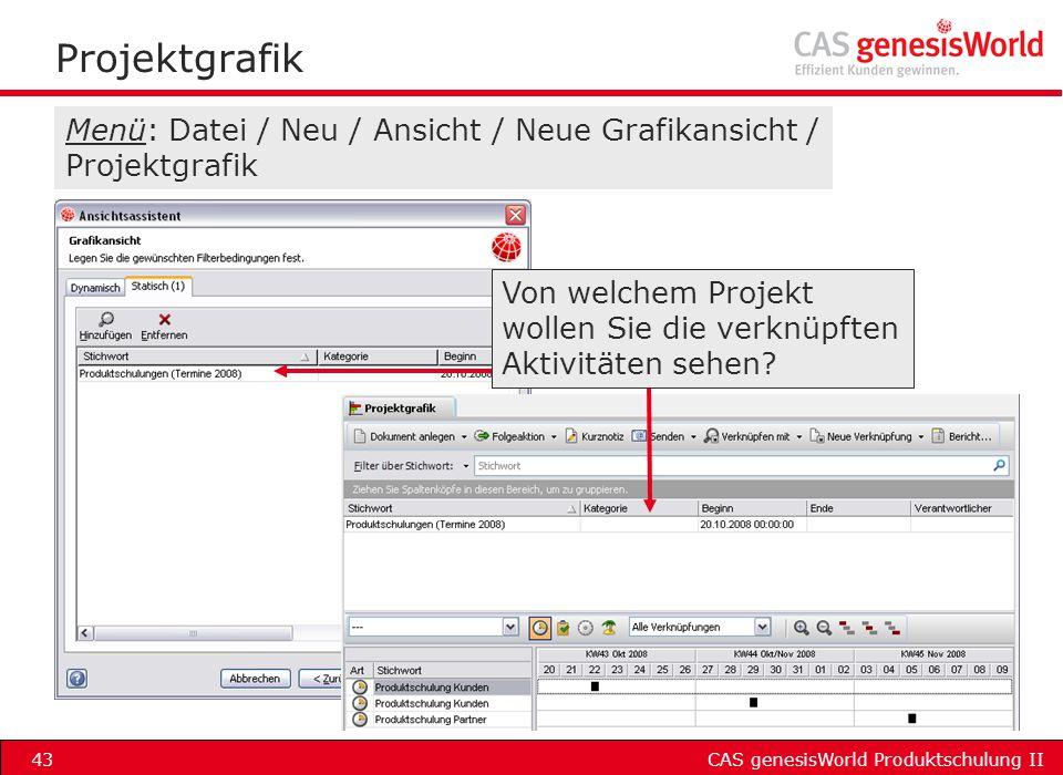 CAS genesisWorld Produktschulung II43 Projektgrafik Menü: Datei / Neu / Ansicht / Neue Grafikansicht / Projektgrafik Von welchem Projekt wollen Sie di