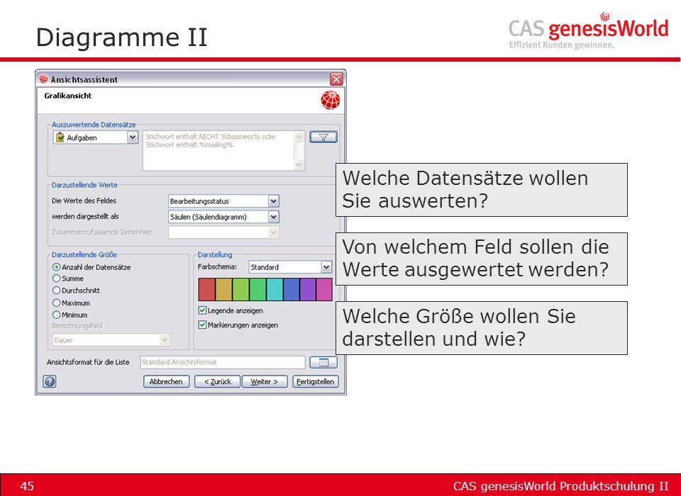 CAS genesisWorld Produktschulung II45 Diagramme II Welche Datensätze wollen Sie auswerten? Von welchem Feld sollen die Werte ausgewertet werden? Welch