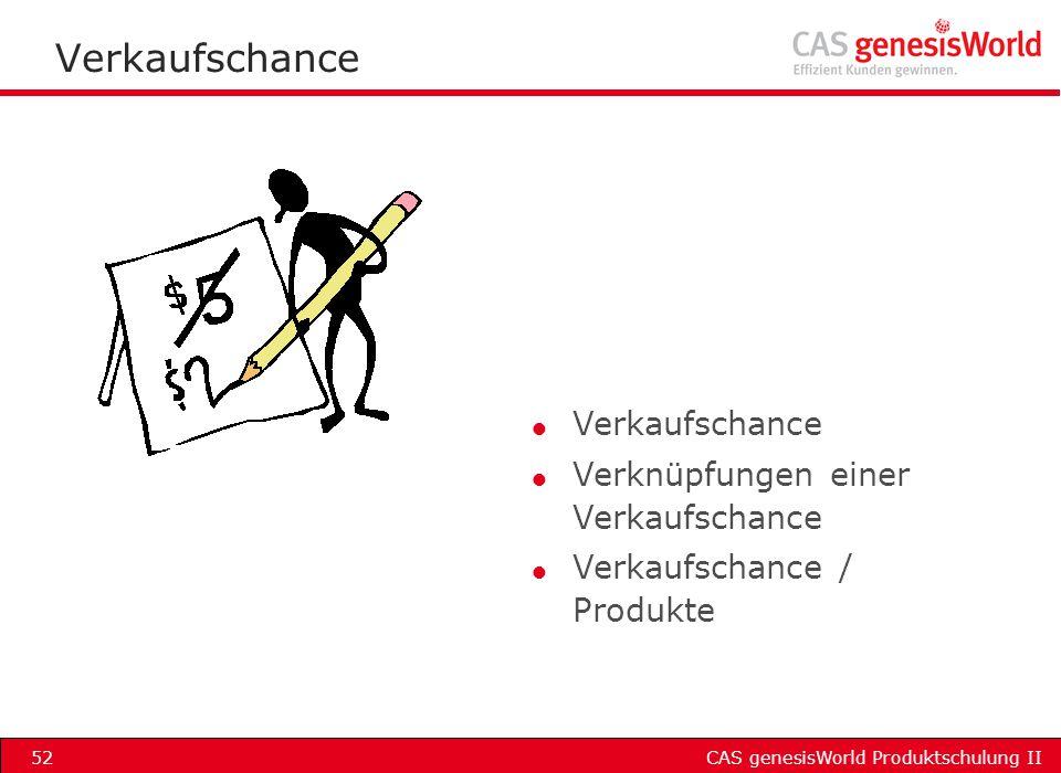 CAS genesisWorld Produktschulung II52 Verkaufschance l Verkaufschance l Verknüpfungen einer Verkaufschance l Verkaufschance / Produkte