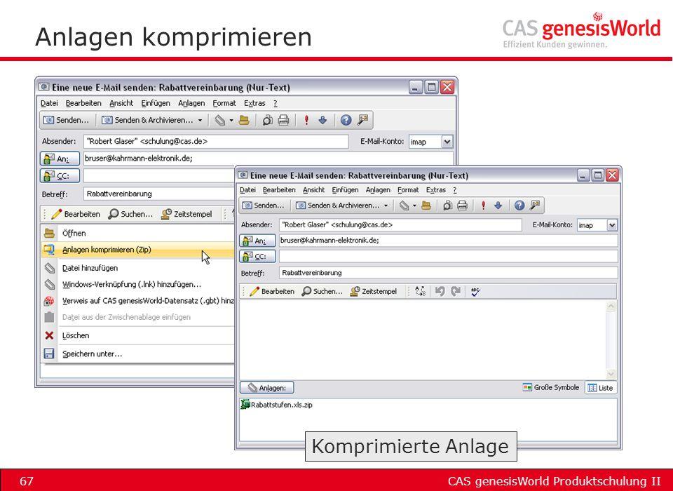 CAS genesisWorld Produktschulung II67 Anlagen komprimieren Komprimierte Anlage