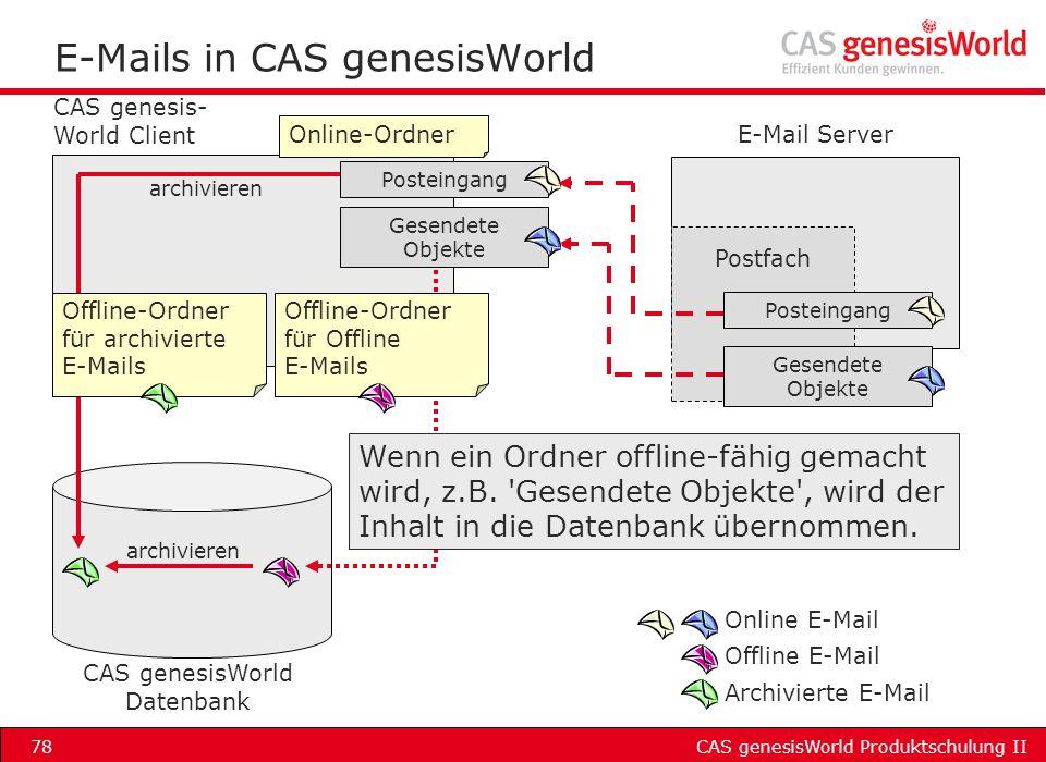 CAS genesisWorld Produktschulung II78 E-Mails in CAS genesisWorld Postfach Posteingang Gesendete Objekte Posteingang Gesendete Objekte CAS genesis- Wo