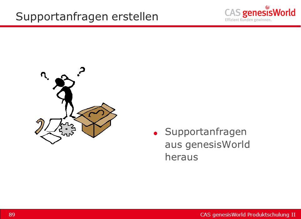 CAS genesisWorld Produktschulung II89 Supportanfragen erstellen l Supportanfragen aus genesisWorld heraus