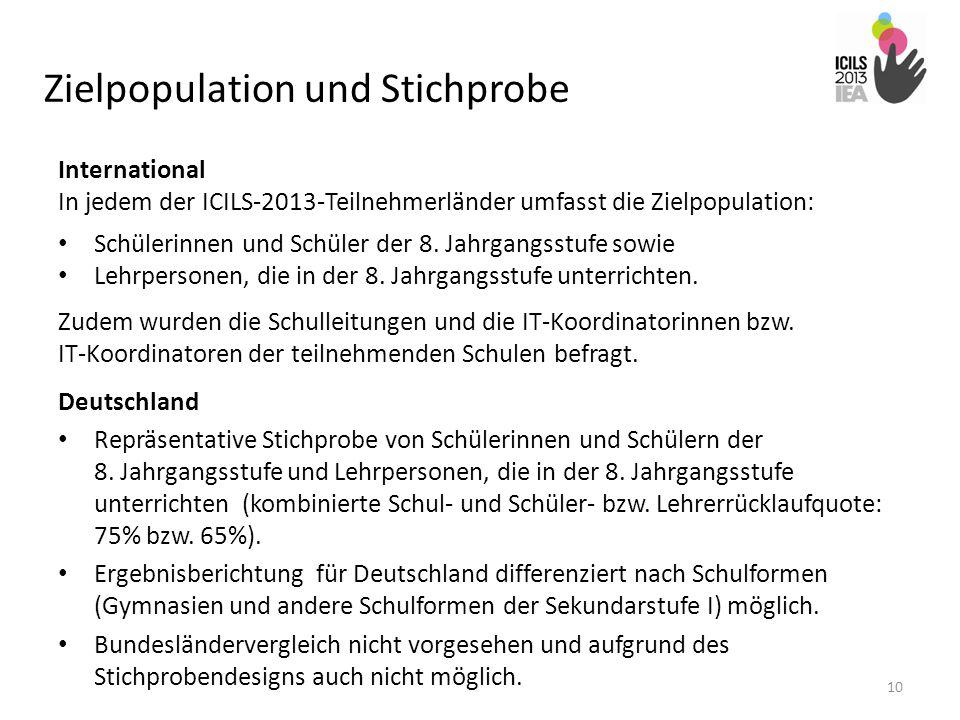 Zielpopulation und Stichprobe International In jedem der ICILS-2013-Teilnehmerländer umfasst die Zielpopulation: Schülerinnen und Schüler der 8. Jahrg