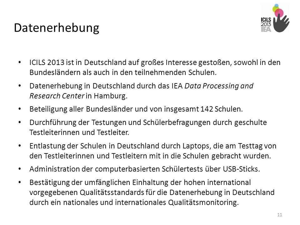 Datenerhebung ICILS 2013 ist in Deutschland auf großes Interesse gestoßen, sowohl in den Bundesländern als auch in den teilnehmenden Schulen. Datenerh