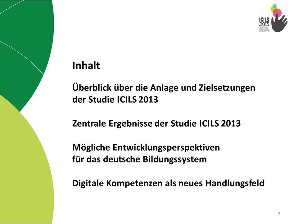 Überblick über die Anlage und Zielsetzungen der Studie ICILS 2013 Zentrale Ergebnisse der Studie ICILS 2013 Mögliche Entwicklungsperspektiven für das