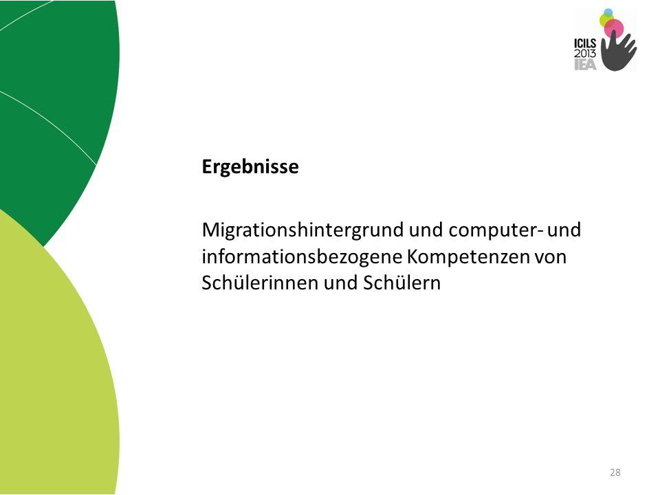 28 Ergebnisse Migrationshintergrund und computer- und informationsbezogene Kompetenzen von Schülerinnen und Schülern