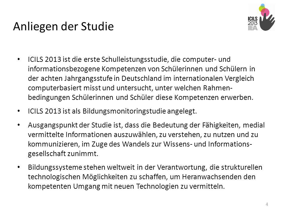 Anliegen der Studie ICILS 2013 ist die erste Schulleistungsstudie, die computer- und informationsbezogene Kompetenzen von Schülerinnen und Schülern in