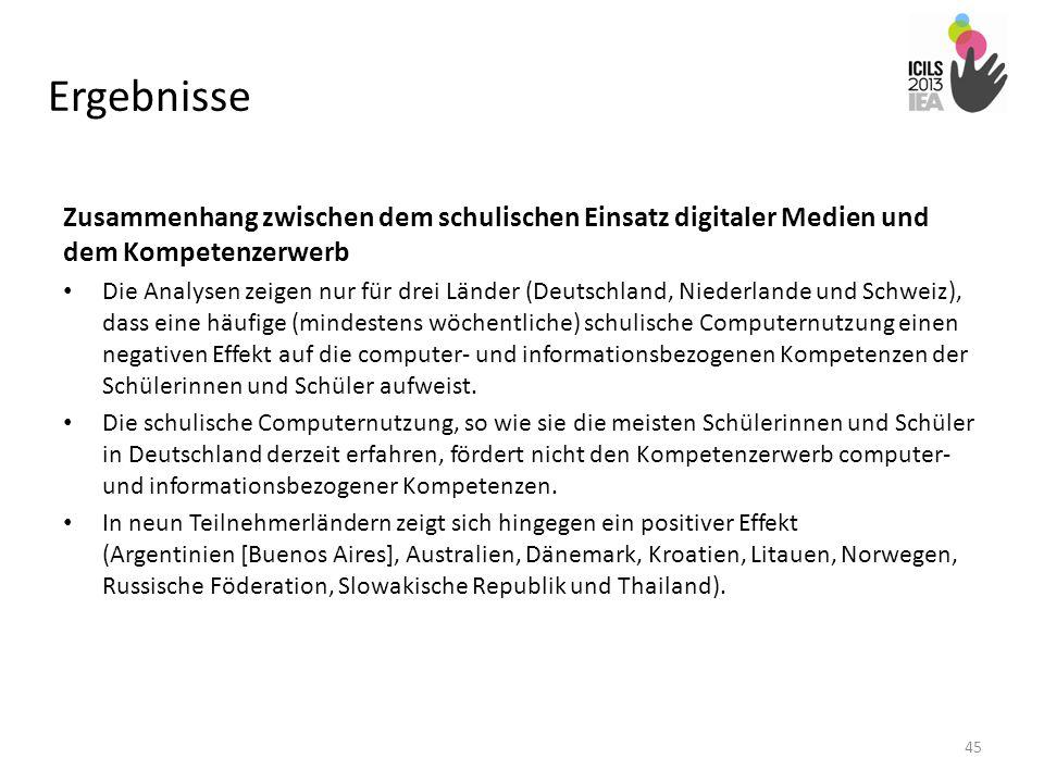 Ergebnisse Zusammenhang zwischen dem schulischen Einsatz digitaler Medien und dem Kompetenzerwerb Die Analysen zeigen nur für drei Länder (Deutschland