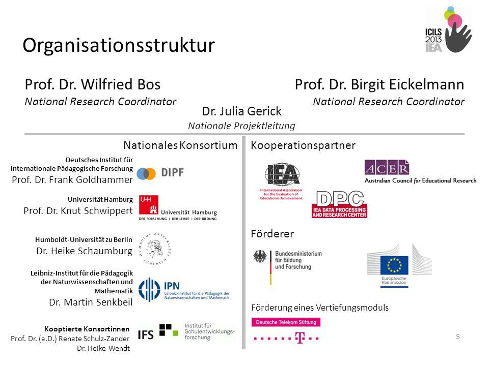 Organisationsstruktur 5 Prof. Dr. Birgit Eickelmann National Research Coordinator Prof. Dr. Wilfried Bos National Research Coordinator Dr. Julia Geric