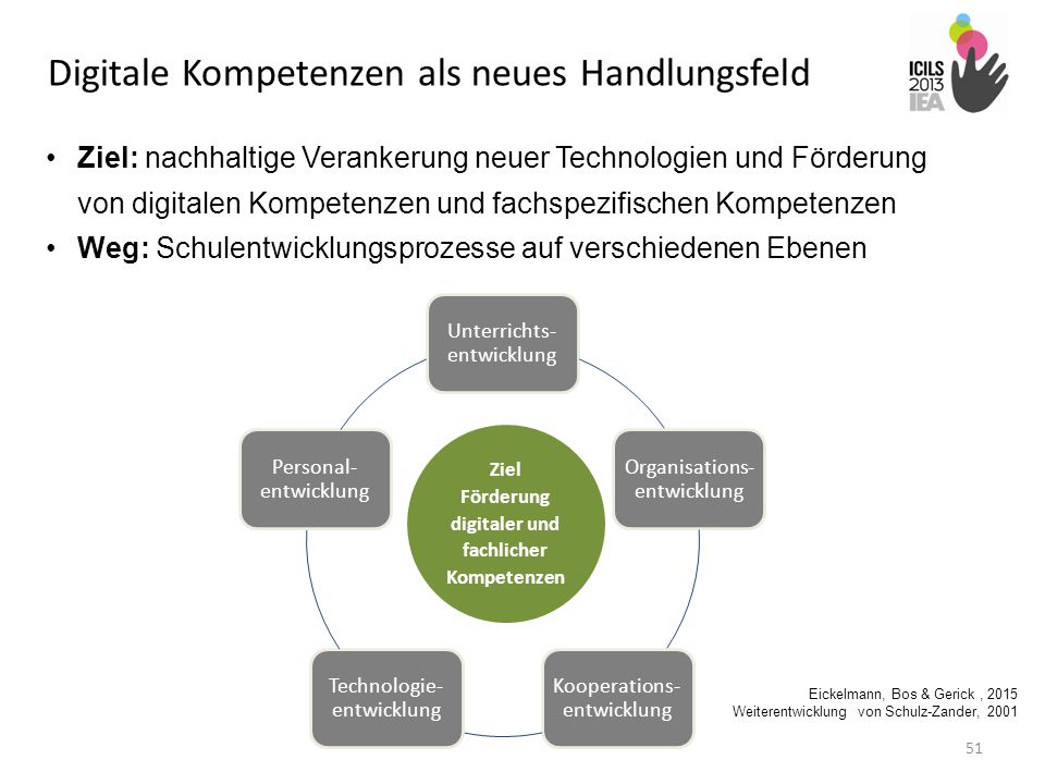 51 Ziel: nachhaltige Verankerung neuer Technologien und Förderung von digitalen Kompetenzen und fachspezifischen Kompetenzen Weg: Schulentwicklungspro