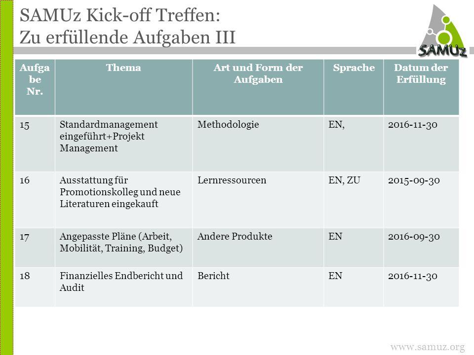 www.samuz.org SAMUz Kick-off Treffen: Zu erfüllende Aufgaben III Aufga be Nr.