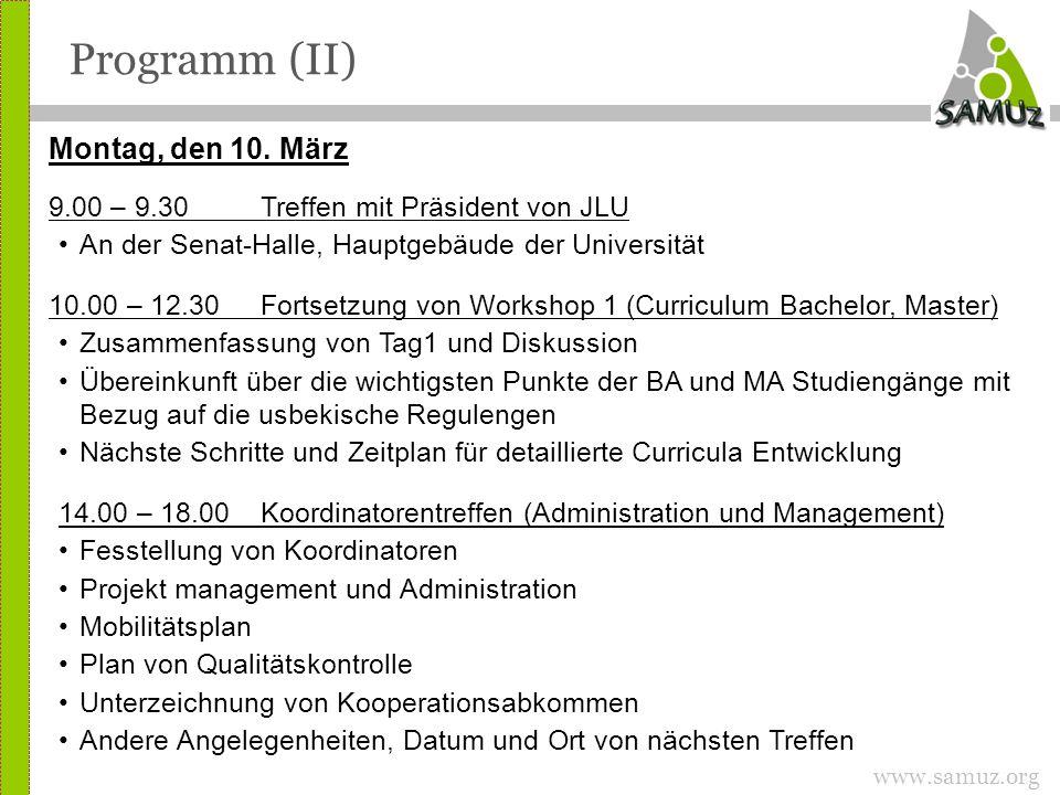 www.samuz.org Programm (II) Montag, den 10.