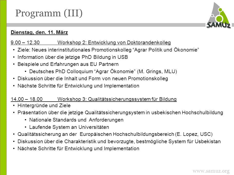www.samuz.org Programm (III) Dienstag, den. 11.