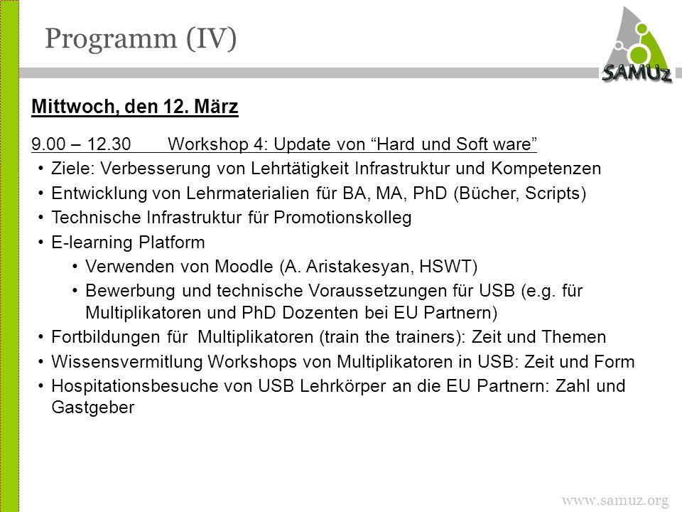 www.samuz.org Programm (IV) Mittwoch, den 12.