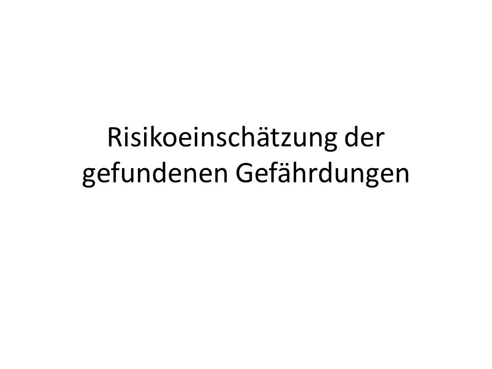 Risikoeinschätzung der gefundenen Gefährdungen
