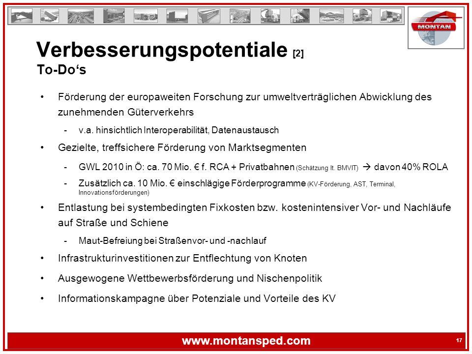17 www.montansped.com 17 Förderung der europaweiten Forschung zur umweltverträglichen Abwicklung des zunehmenden Güterverkehrs -v.a.