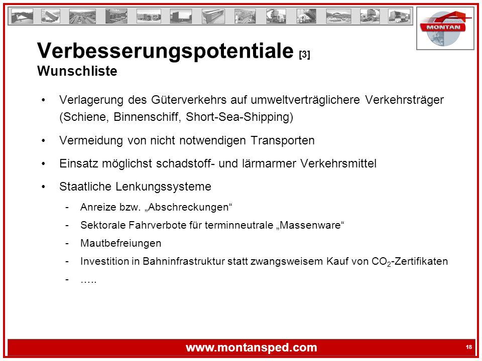18 www.montansped.com 18 Verlagerung des Güterverkehrs auf umweltverträglichere Verkehrsträger (Schiene, Binnenschiff, Short-Sea-Shipping) Vermeidung