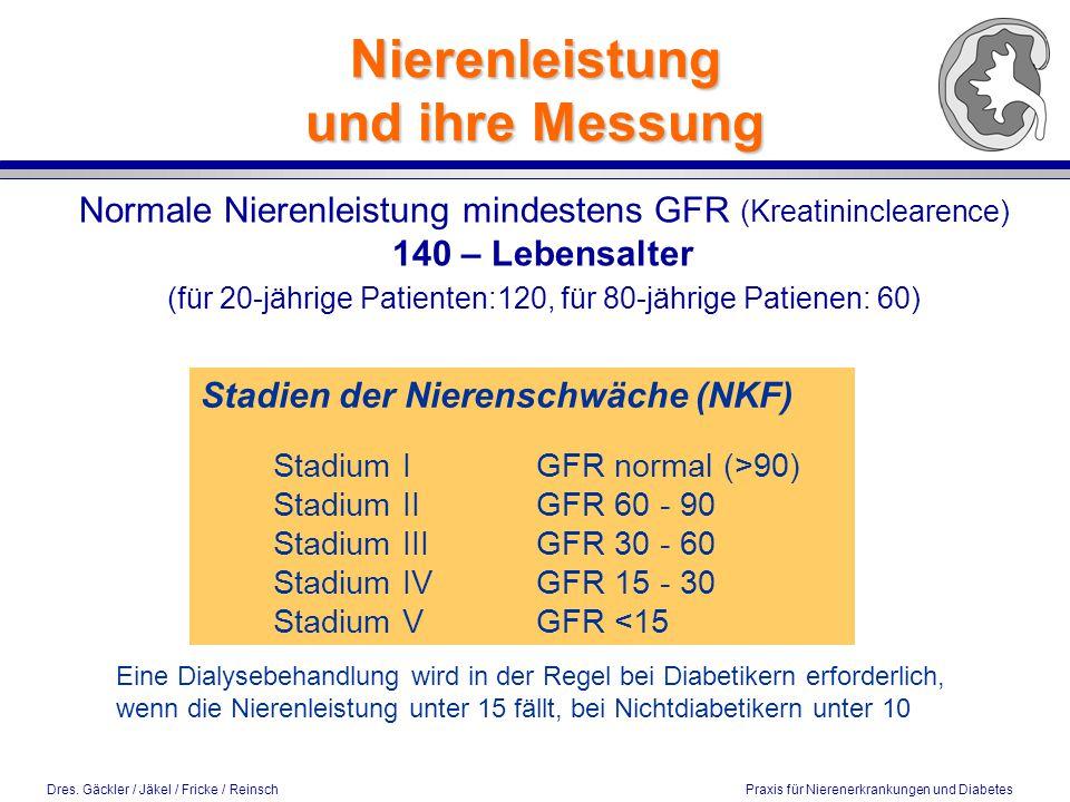 Dres. Gäckler / Jäkel / Fricke / Reinsch Praxis für Nierenerkrankungen und Diabetes Nierenleistung und ihre Messung Normale Nierenleistung mindestens