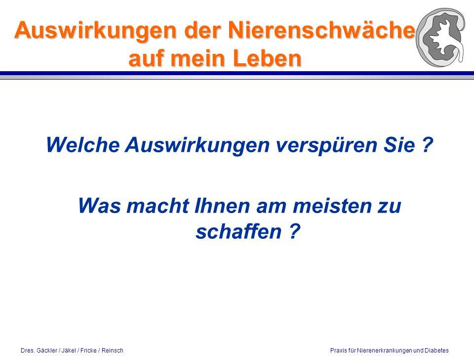 Dres. Gäckler / Jäkel / Fricke / Reinsch Praxis für Nierenerkrankungen und Diabetes Auswirkungen der Nierenschwäche auf mein Leben Welche Auswirkungen