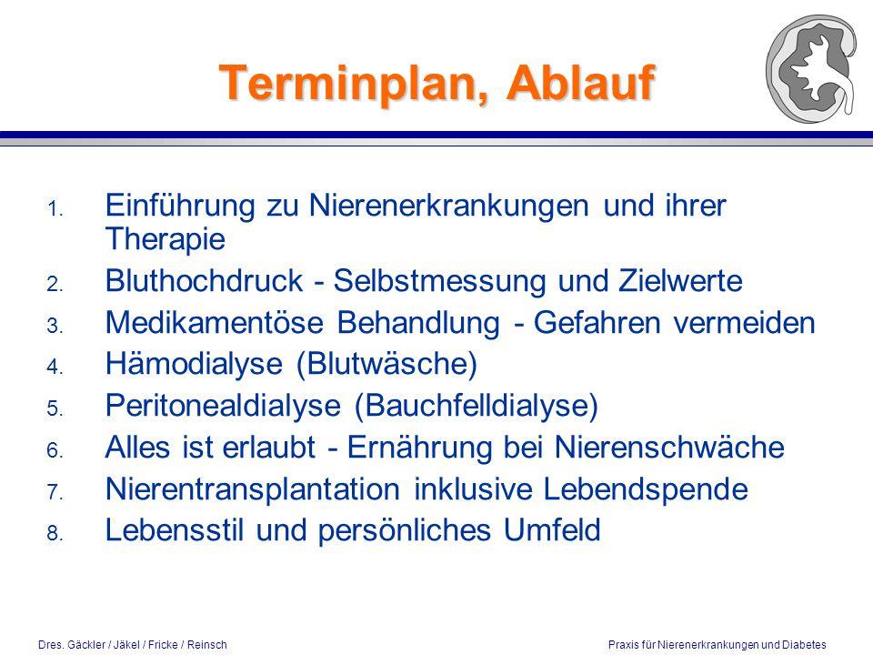 Dres. Gäckler / Jäkel / Fricke / Reinsch Praxis für Nierenerkrankungen und Diabetes Terminplan, Ablauf 1. Einführung zu Nierenerkrankungen und ihrer T
