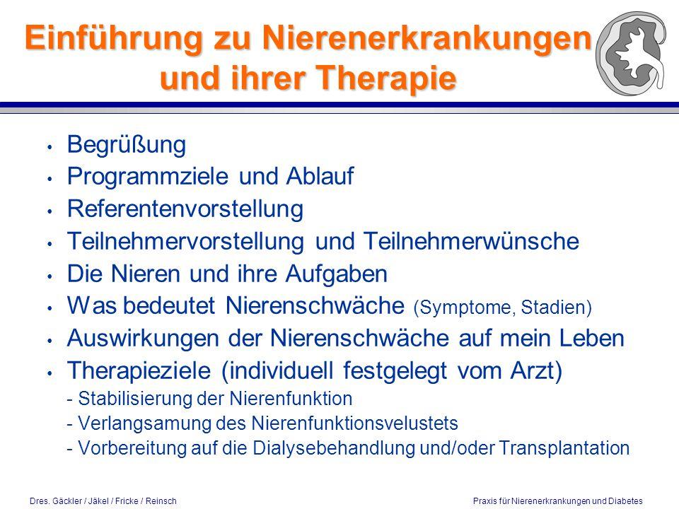 Dres. Gäckler / Jäkel / Fricke / Reinsch Praxis für Nierenerkrankungen und Diabetes Einführung zu Nierenerkrankungen und ihrer Therapie Begrüßung Prog