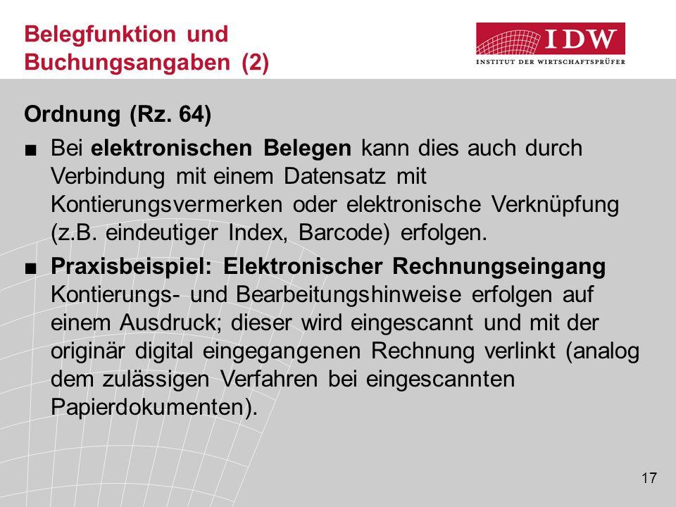 17 Belegfunktion und Buchungsangaben (2) Ordnung (Rz.