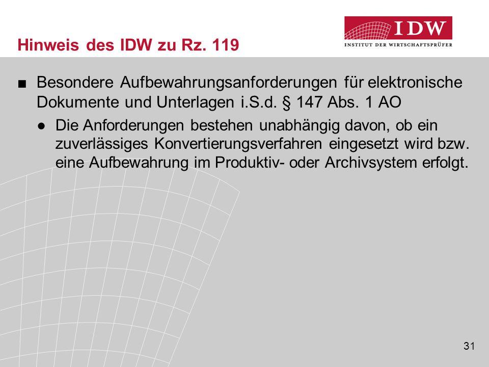 31 Hinweis des IDW zu Rz.
