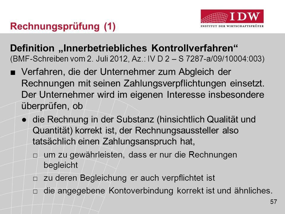 """57 Rechnungsprüfung (1) Definition """"Innerbetriebliches Kontrollverfahren (BMF-Schreiben vom 2."""