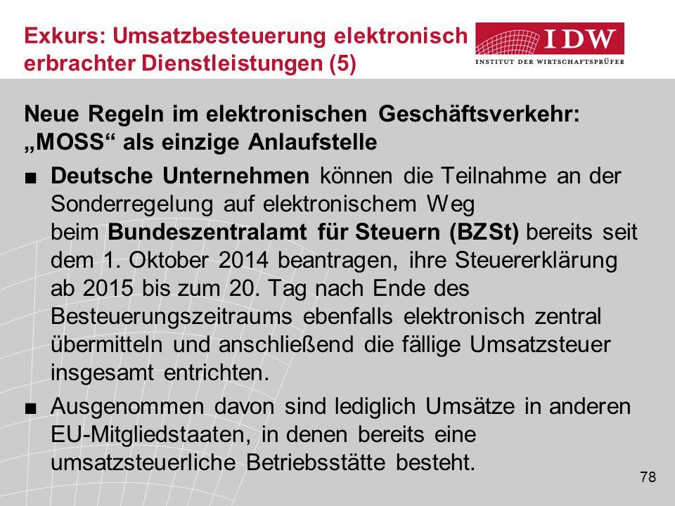 """78 Neue Regeln im elektronischen Geschäftsverkehr: """"MOSS als einzige Anlaufstelle ■Deutsche Unternehmen können die Teilnahme an der Sonderregelung auf elektronischem Weg beim Bundeszentralamt für Steuern (BZSt) bereits seit dem 1."""