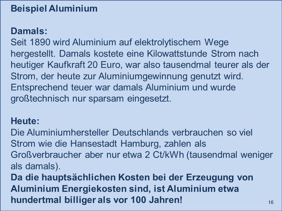 Beispiel Aluminium Damals: Seit 1890 wird Aluminium auf elektrolytischem Wege hergestellt. Damals kostete eine Kilowattstunde Strom nach heutiger Kauf