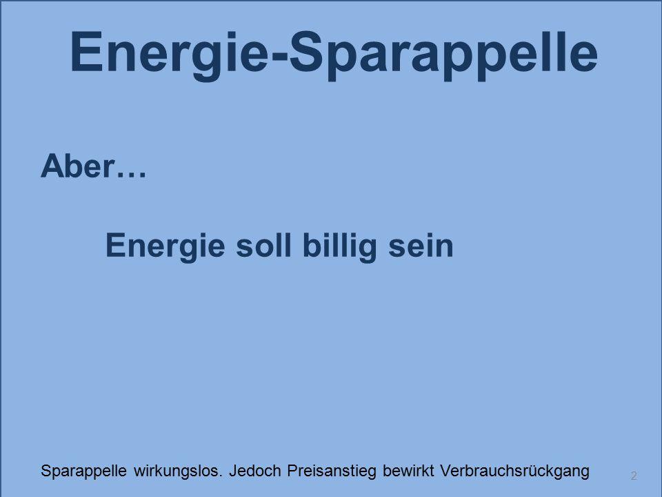 2 Energie-Sparappelle Aber… Energie soll billig sein Sparappelle wirkungslos. Jedoch Preisanstieg bewirkt Verbrauchsrückgang