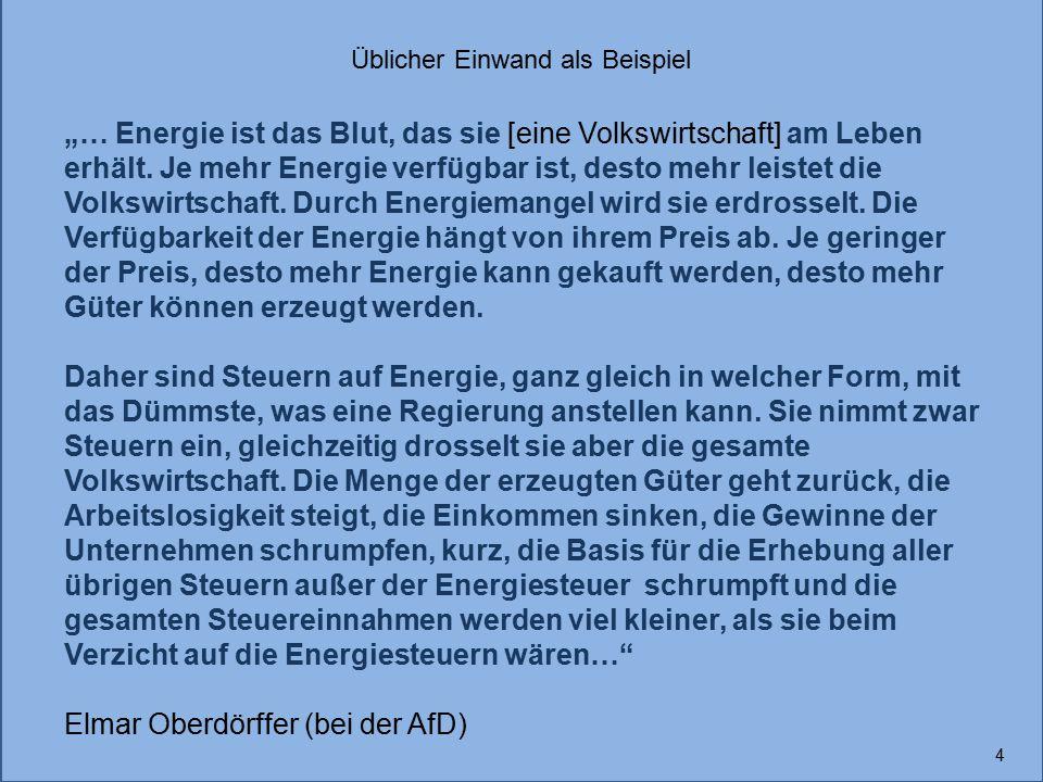 """4 """"… Energie ist das Blut, das sie [eine Volkswirtschaft] am Leben erhält. Je mehr Energie verfügbar ist, desto mehr leistet die Volkswirtschaft. Durc"""