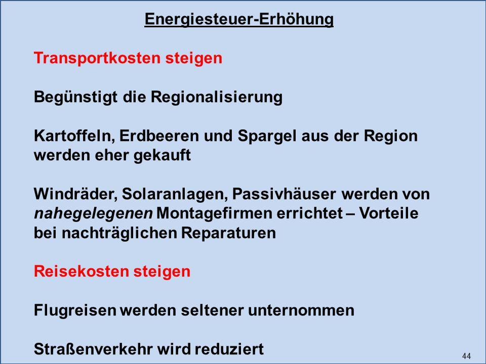 44 Energiesteuer-Erhöhung Transportkosten steigen Begünstigt die Regionalisierung Kartoffeln, Erdbeeren und Spargel aus der Region werden eher gekauft