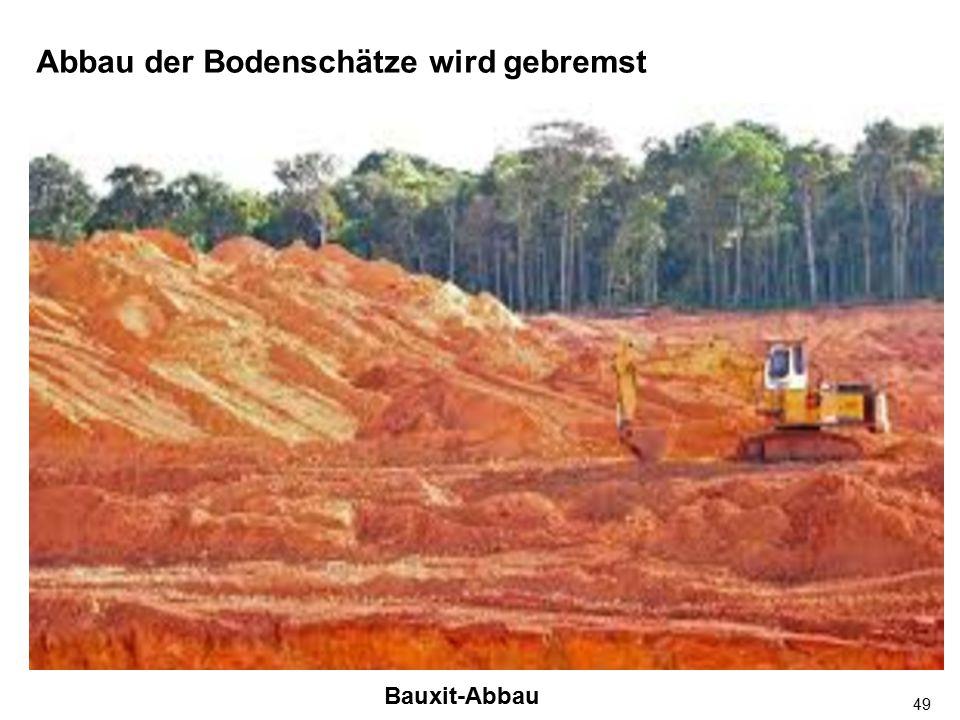 49 Abbau der Bodenschätze wird gebremst Bauxit-Abbau