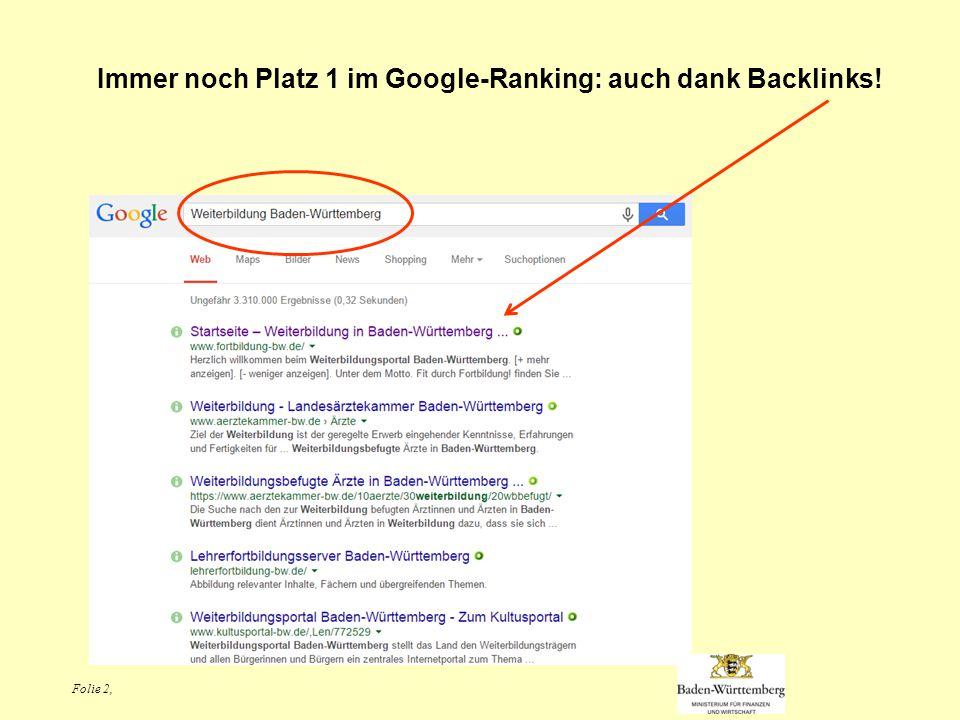 Folie 2, Immer noch Platz 1 im Google-Ranking: auch dank Backlinks!
