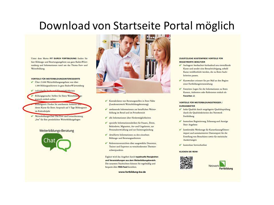 Download von Startseite Portal möglich