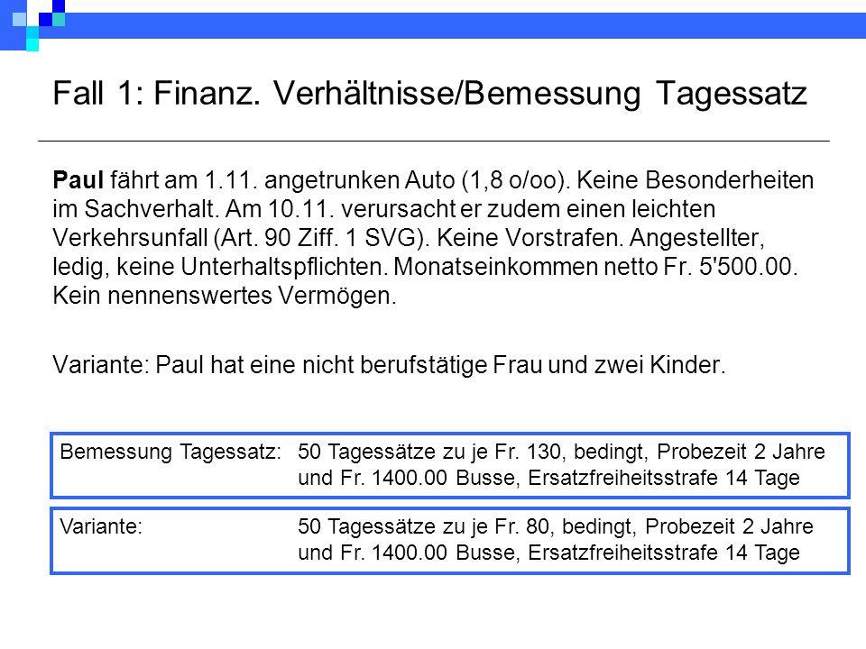 Fall 1: Finanz. Verhältnisse/Bemessung Tagessatz Paul fährt am 1.11. angetrunken Auto (1,8 o/oo). Keine Besonderheiten im Sachverhalt. Am 10.11. verur