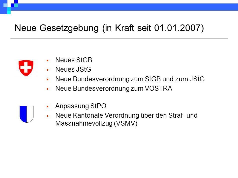 Neue Gesetzgebung (in Kraft seit 01.01.2007)  Neues StGB  Neues JStG  Neue Bundesverordnung zum StGB und zum JStG  Neue Bundesverordnung zum VOSTR