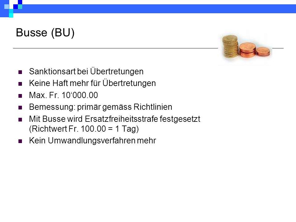 Busse (BU) Sanktionsart bei Übertretungen Keine Haft mehr für Übertretungen Max. Fr. 10'000.00 Bemessung: primär gemäss Richtlinien Mit Busse wird Ers