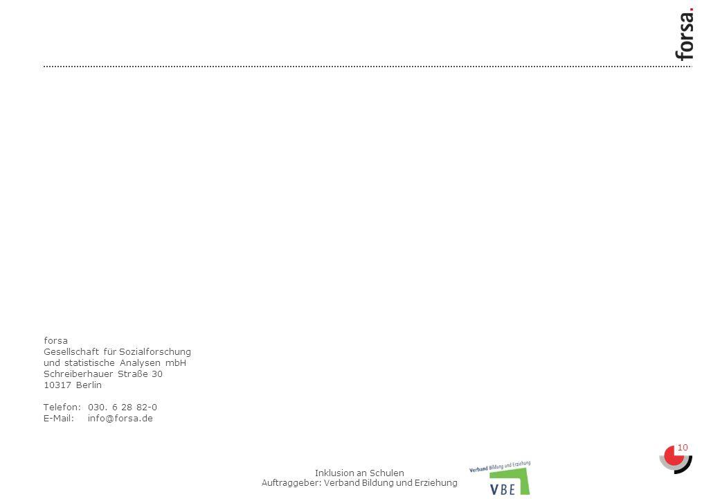 10 Inklusion an Schulen Auftraggeber: Verband Bildung und Erziehung forsa Gesellschaft für Sozialforschung und statistische Analysen mbH Schreiberhauer Straße 30 10317 Berlin Telefon:030.