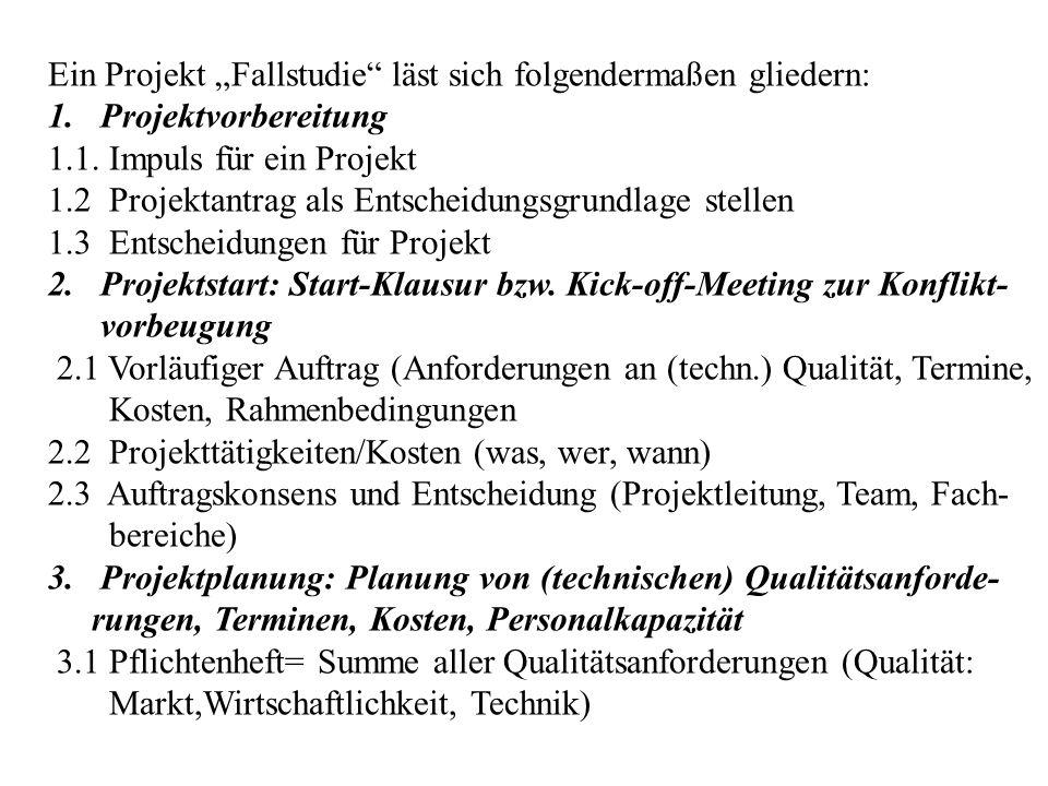"""Ein Projekt """"Fallstudie"""" läst sich folgendermaßen gliedern: 1. Projektvorbereitung 1.1. Impuls für ein Projekt 1.2 Projektantrag als Entscheidungsgrun"""
