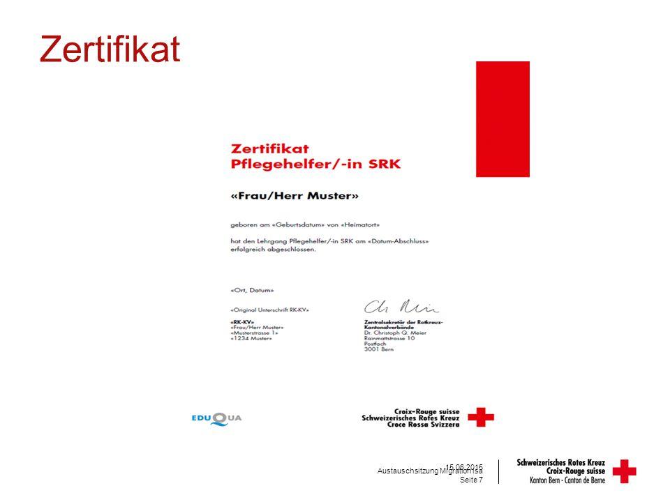 Zertifikat Seite 7 15.06.2015 Austauschsitzung Migration isa
