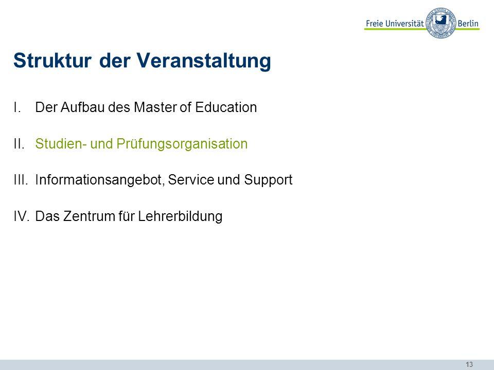 13 Struktur der Veranstaltung I.Der Aufbau des Master of Education II.Studien- und Prüfungsorganisation III.Informationsangebot, Service und Support I
