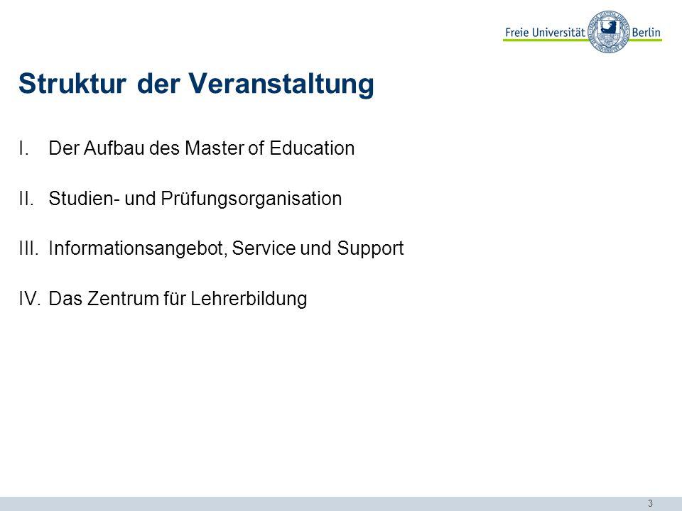 3 Struktur der Veranstaltung I.Der Aufbau des Master of Education II.Studien- und Prüfungsorganisation III.Informationsangebot, Service und Support IV