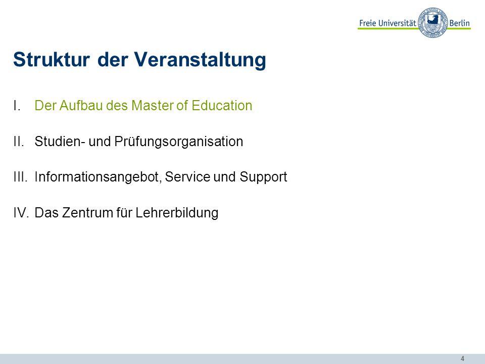 4 Struktur der Veranstaltung I.Der Aufbau des Master of Education II.Studien- und Prüfungsorganisation III.Informationsangebot, Service und Support IV