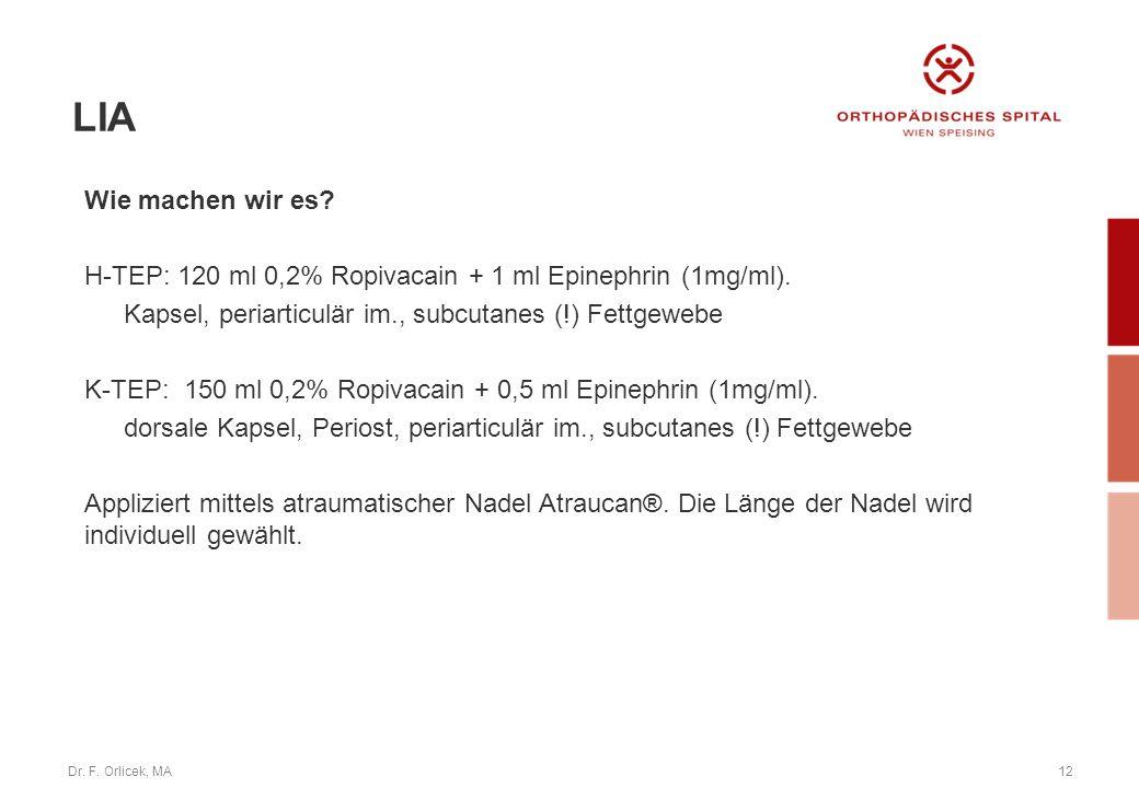 Dr. F. Orlicek, MA12 Wie machen wir es? H-TEP: 120 ml 0,2% Ropivacain + 1 ml Epinephrin (1mg/ml). Kapsel, periarticulär im., subcutanes (!) Fettgewebe