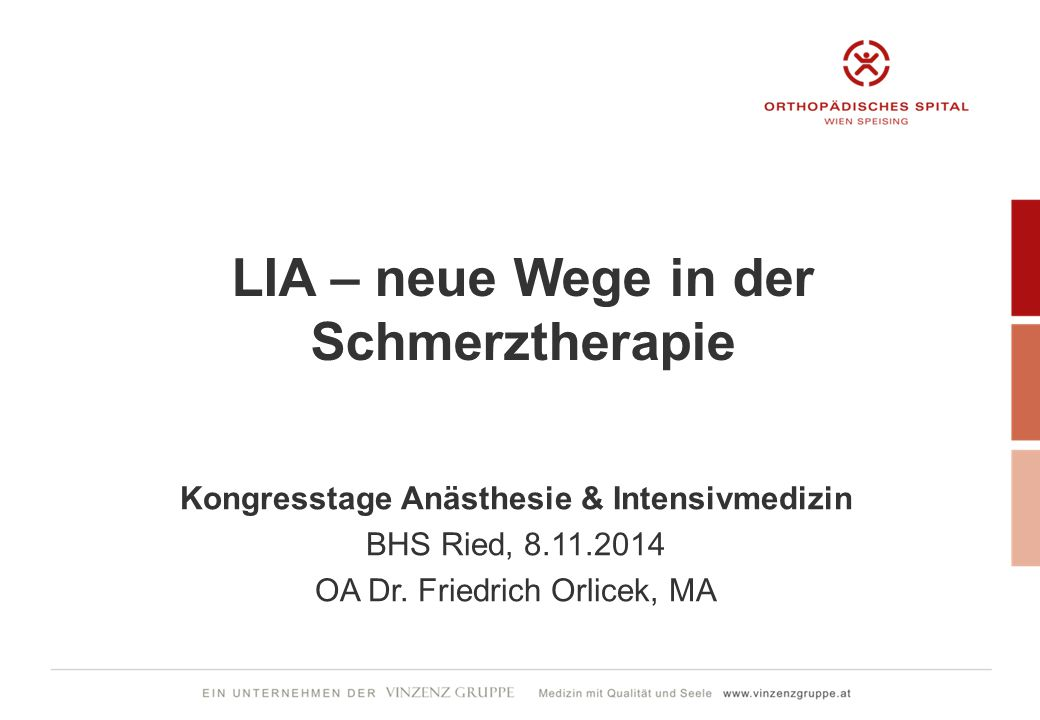 LIA – neue Wege in der Schmerztherapie Kongresstage Anästhesie & Intensivmedizin BHS Ried, 8.11.2014 OA Dr. Friedrich Orlicek, MA