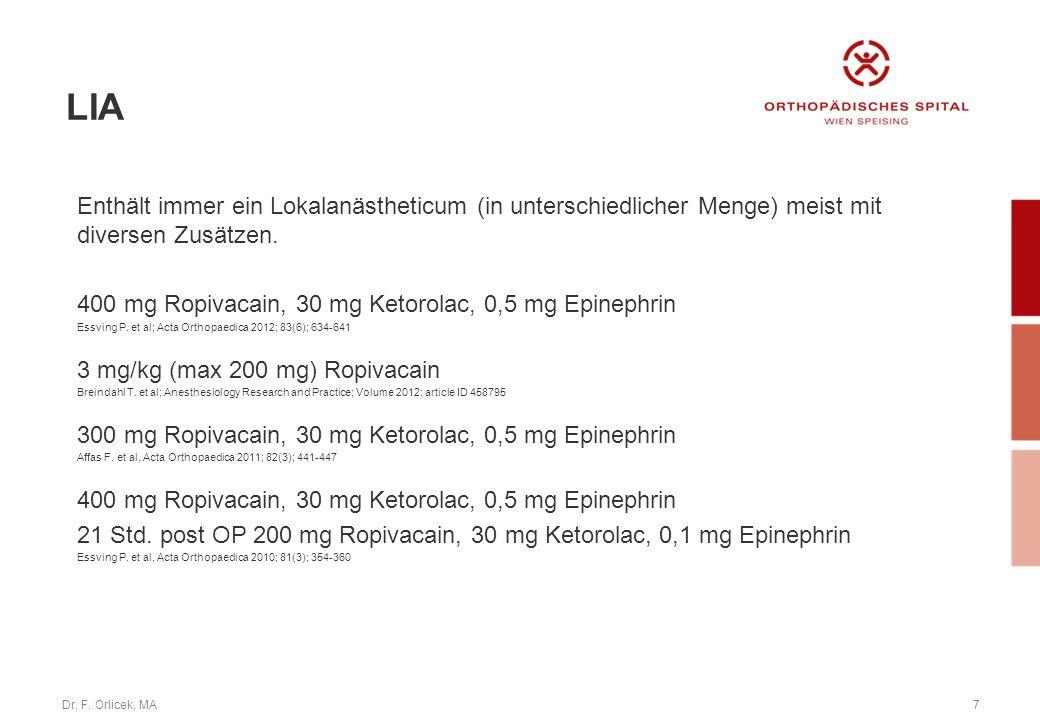 Dr. F. Orlicek, MA7 Enthält immer ein Lokalanästheticum (in unterschiedlicher Menge) meist mit diversen Zusätzen. 400 mg Ropivacain, 30 mg Ketorolac,