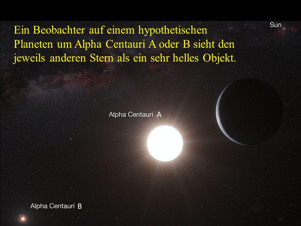 Ein Beobachter auf einem hypothetischen Planeten um Alpha Centauri A oder B sieht den jeweils anderen Stern als ein sehr helles Objekt.