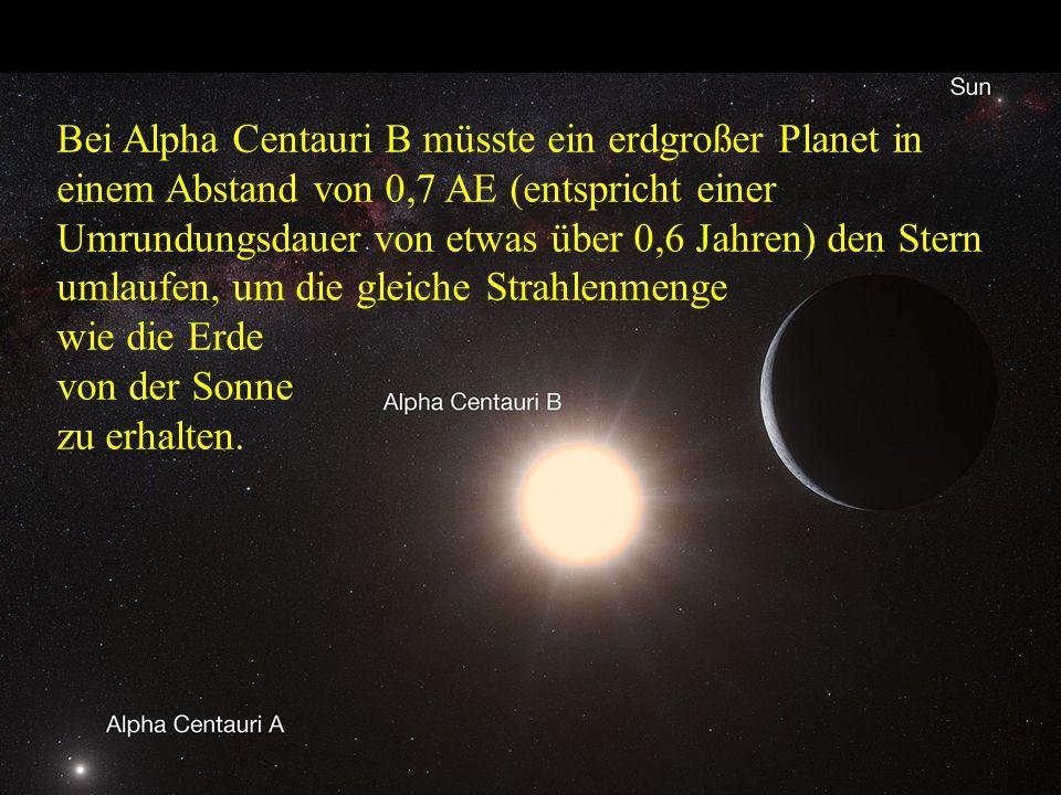 Bei Alpha Centauri B müsste ein erdgroßer Planet in einem Abstand von 0,7 AE (entspricht einer Umrundungsdauer von etwas über 0,6 Jahren) den Stern um